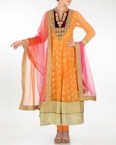 #Exclusivelyin, #IndianEthnicWear, #IndianWear, #Fashion, Mustard Anarkali Style Suit