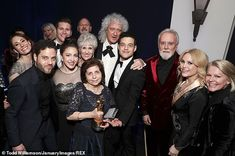 Rami Malek is congratulated by Brian May, Roger Taylor and Anita Dobson as Best Actor's supportive family help him celebrate his Academy Awards triumph at Fo. Best Actress, Best Actor, Brian Rogers, Queen Movie, Fox Party, Roger Taylor Queen, Baby Queen, We Are The Champions, Ben Hardy