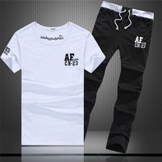 a57b561fa4e86 Jolintsai 2017 Men Clothing Set Summer Style Short Sleeve Casual Men  Tracksuit Fashion Letter T-shirt+Pant 2 Pieces Set
