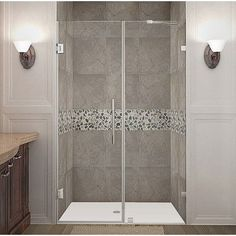 "Aston Nautis 72"" x 49"" Completely Frameless Hinged Shower Door Trim Finish:"