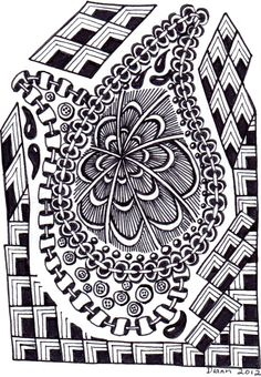 Cornered by Diann 2012. Pinned from her folder, visit for more Zentangles http://pinterest.com/dian0913/zentangle-inspired-my-art/