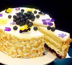Blueberry & Lemon Torte - The recipe for this light and refreshing cake is now on the website, http://lusciouscakesandbakes.com/recipe/blueberry-lemon-torte/