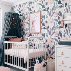 Moody Floral Self-Adhesive Wallpaper - Project Nursery floral wallpaper nursery, canopy over crib white metal crib, girl nursery ideas, whimsical nursery, Baby Bedroom, Baby Room Decor, Nursery Room, Girls Bedroom, Nursery Decor, Whimsical Nursery, Blue Nursery Girl, Kids Rooms, Baby Girl Rooms
