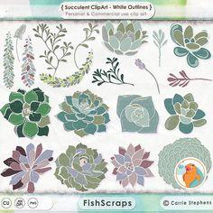 Succulent ClipArt, Hens & Chicks Digital Clip Art, Plants and Flowers Digital Graphics, DIY Garden Floral Wedding Invite Download