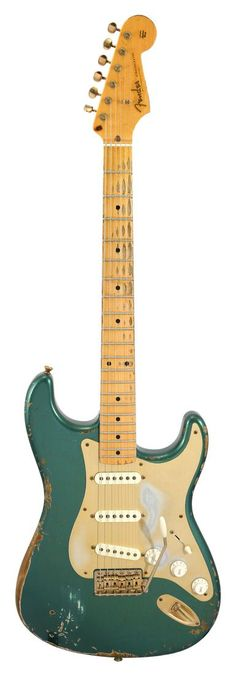 Pre-Owned Fender Custom Shop 57 Stratocaster Heavy Relic Sherwood Green | Rainbow Guitars