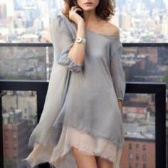 grey and powder chiffon tunic--so feminine Mode Chic, Mode Style, Looks Style, Style Me, Look Fashion, Fashion Beauty, Grey Fashion, Fall Fashion, Fashion Models
