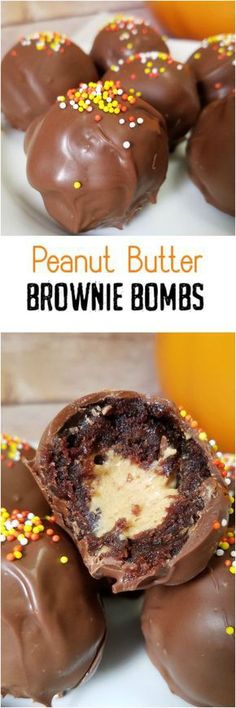 Peanut Butter Brownie Bombs by Rumbly in my Tumbly (oreo cheesecake fudge) Brownie Recipes, Candy Recipes, Sweet Recipes, Baking Recipes, Cookie Recipes, Dessert Recipes, Bar Recipes, Cookie Ideas, Cream Recipes