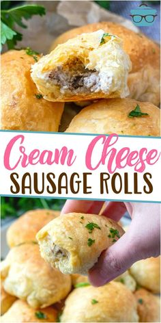 These Puff Pastry Sausage Rolls are the perfect little appetizer. Puff pastry, pork sausage and cream cheese are all that's needed! Sausage Appetizers, Sausage Recipes, Pork Recipes, Cooking Recipes, Holiday Appetizers, Holiday Foods, Brunch Recipes, Appetizer Recipes, Breakfast Recipes