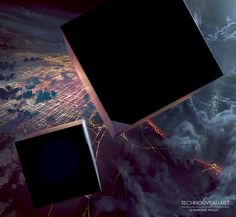 Alive For Art Inspiration | Artist interview w/pics! Rasmus Poulsen is an art director at Square Enix Montréal...Two Monolith Black Cubes Falling From The Sky Toward A Lighted Future City At Night Concept