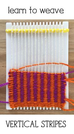 Learn to Weave Vertical Stripes on a Frame Loom 2019 Perfect for beginners learn how to weave vertical stripes on a little loom. The post Learn to Weave Vertical Stripes on a Frame Loom 2019 appeared first on Weaving ideas. Weaving Loom Diy, Weaving Art, Weaving Patterns, Knitting Patterns, Stitch Patterns, Yarn Crafts, Fabric Crafts, Tapestry Loom, Fibre And Fabric