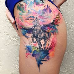 Watercolor Pegasus tattoo done here at Inkaholik the chapel by Ramon follow us on Instagram @inkaholik_kendall
