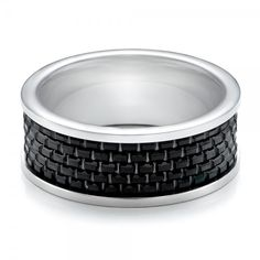 Men's Black and White Tungsten Band #JosephJewelry | Bellevue | Seattle