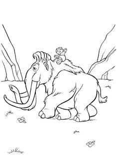 Little dinosaurs from Ice age coloring pages for kids ...