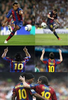 Lionel Messi and Ronaldinho.