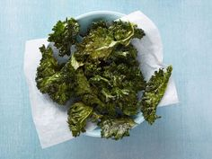 Kale is excellent for roasting! The tender leaves become crisp and crunchy when dressed in a light mixture of olive oil and kosher salt. Be sure to place the kale in one layer on the sheet tray — overcrowding will steam the kale rather than crisp it.