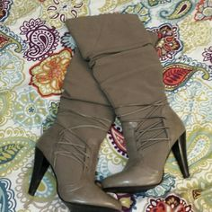 SOLD Jasmin boots Gorgeous taupe boots. Lacing detail. Worn 1-2x. Small blemish shown in last pic. Otherwise in EUC. Jasmin  Shoes Heeled Boots