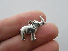 BULK 20 Elephant charms antique silver tone A1