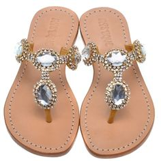 Jeweled Flat Sandals by Mystique Mystique Sandals, Jeweled Sandals, Cali Girl, Pretty Shoes, Palm Beach Sandals, Cute Summer Outfits, Leather Flats, Flat Sandals, Wedding Shoes