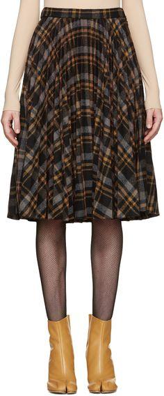 MAISON MARGIELA Multicolor Tartan Pleated Skirt. #maisonmargiela #cloth #skirt