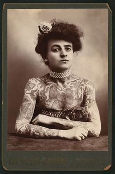 Maud Wagner, the first well-known female tattoo artist/badass in the United States, 1907..