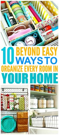These 10 clever ways to organize your entire home are THE BEST! I'm so happy I found these SUPER HELPFUL TIPS! Now I have a great hacks for organizing every room in my house! Definitely pinning!