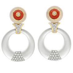 Rock Crystal Coral Diamond Gold Pendant Earrings