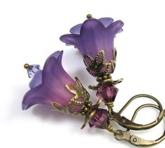 Purple Vintage  Flower Earrings
