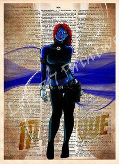 Mystique art print, Xmen art, vintage superhero art, Sexy Super Villain, Dictionary print art
