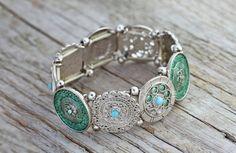 Teal cuff bracelet - bohemian bracelet, boho hippie, teal and silver bracelet, teal jewelry, stackable bracelet, silver  * FREE SHIPPING