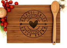 New wedding gifts custom cutting boards ideas Custom Cutting Boards, Engraved Cutting Board, Personalized Cutting Board, Bamboo Cutting Board, Custom Wedding Gifts, Best Wedding Gifts, Personalized Birthday Gifts, Types Of Wood, Customized Gifts