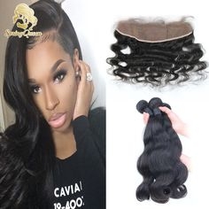 Lace Frontal Closure With Bundles Brazilian Virgin Hair With Closure Body Wave Ear To Ear 13x4 Lace Frontal With Bundles
