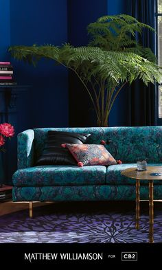 Introducing our newest collection with iconic British fashion designer Matthew Williamson.  Get the #LondonEclectic Look:  A statement piece with antique appeal, this vibrant sofa commands attention.
