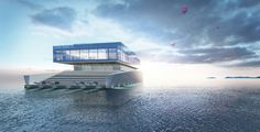 glass yacht - Architect Lujac Desautel conceived this highly luxurious and indulgent design for a floating glass yacht. The yacht will be built on a floating pla. Yacht Design, Boat Design, Design Tradicional, Floating Architecture, Architecture Design, Architecture Student, Floating Platform, Monuments, Boat Covers