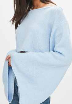 Missguided - Blue cropped Sweater