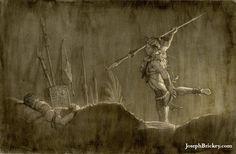 Teancum slays Amalikiah.  Artwork by Joseph Brickey.