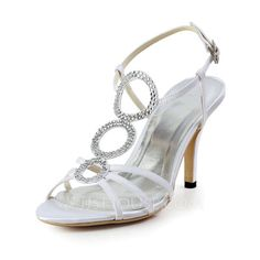 Wedding Shoes - $62.99 - Women's Silk Like Satin Cone Heel Sandals Slingbacks With Rhinestone (047027252) http://jjshouse.com/Women-S-Silk-Like-Satin-Cone-Heel-Sandals-Slingbacks-With-Rhinestone-047027252-g27252