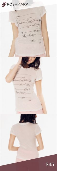 Wildfox Love Letter Tourist Crew in Vintage Lace Write an anonymous love letter and send it to your crush... we dare you. This dreamy tee features a love letter than you can fill out yourself. Crewneck, short sleeves and a slim fit body. Constructed from tissue jersey so it's deliciously soft and light. 50% Cotton, 50% Polyester Wildfox Tops Tees - Short Sleeve