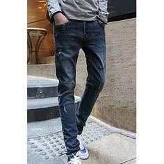 Slimming Narrow Feet Trendy Cat's Whisker Design Destroy Wash Men's Jeans, AS THE PICTURE, 30 in Jeans | DressLily.com
