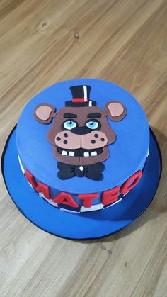 Five nights at freddys cake Gorgeous Cakes, Amazing Cakes, Birthday Cake, Birthday Parties, 9th Birthday, Fnaf Cake, Drum Cake, Baking Tins, Cakes For Boys