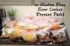 20 Gluten Free Slow Cooker Freezer Packs- all ingredients purchased at Costco!! Great way to spend a few hours on the weekend and have meals for most of the month!