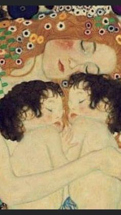 Gustav Klimt, Art Klimt, Klimt Tattoo, Painting For Kids, Art For Kids, Mother And Child Painting, Day Of Dead, Mother Art, Illustration