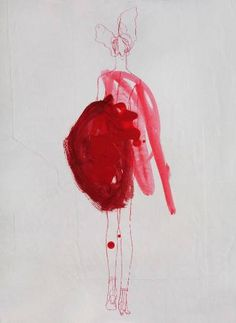 """Saatchi Art Artist Claudia Wimmer; Drawing, """"Red 05"""" #art"""