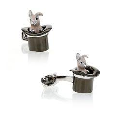 Cufflinks, Rabbit in Hat, Sterling Silver