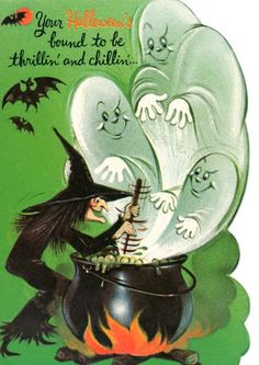 Vintage Norcross Halloween Greeting Card Scrapbook Used Witch Ghosts & Cauldron 1950s Halloween, Vintage Halloween Images, Halloween Eve, Halloween Greetings, Vintage Halloween Decorations, Halloween Painting, Halloween Pictures, Halloween Projects, Halloween Stuff