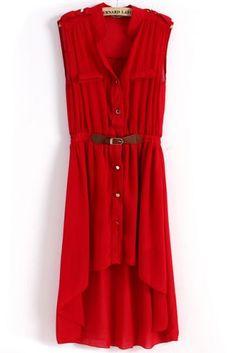 color // Red Sleeveless Epaulet High Low Belt Dress   sheinside.com