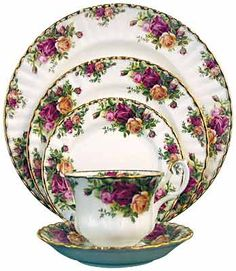 Royal Albert Old Country Roses. Rated America's best loved china pattern, this classic from Royal Doulton is a beautiful table appointment. Available at Waterford Wedgwood Royal Doulton, San Marcos, TX Royal Albert, Dinnerware Sets, China Dinnerware, Cream Dinnerware, Vintage Dinnerware, Royal Doulton, Traditional Dinnerware, China Tea Sets, Delft