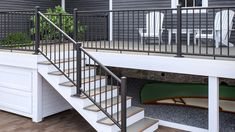 Backyard deck with white Adirondack chairs, enclosed with Deckorators ALX Classic Railing in Black and stairs lead down to paver patio Pergola Attached To House, Deck With Pergola, Pergola Shade, Pergola Patio, Pergola Plans, Black Pergola, Pergola Ideas, Curved Pergola, Pergola Cover