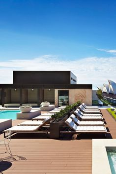 The rooftop pool sits beneath the Sydney Harbour Bridge and has sweeping views of the water. #Jetsetter