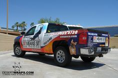 High quality and high vinyl truck wrap for Sit Means Sit. Perforated window included to maximize advertising space. Give DesertWraps.com a call about truck wraps 760-935-3600  #Chevy #ChevySilverado #TruckWrap #VehicleWrap