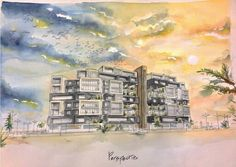 Watercolour rendering residential complex